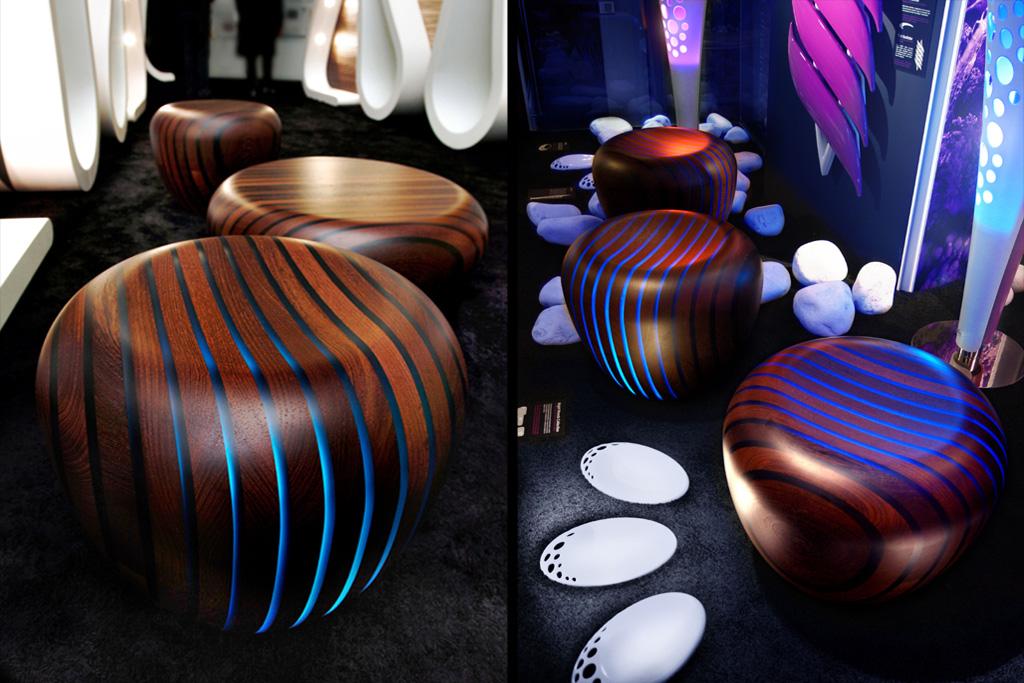 led backlit furniture in wood resin bright woods collection. Black Bedroom Furniture Sets. Home Design Ideas